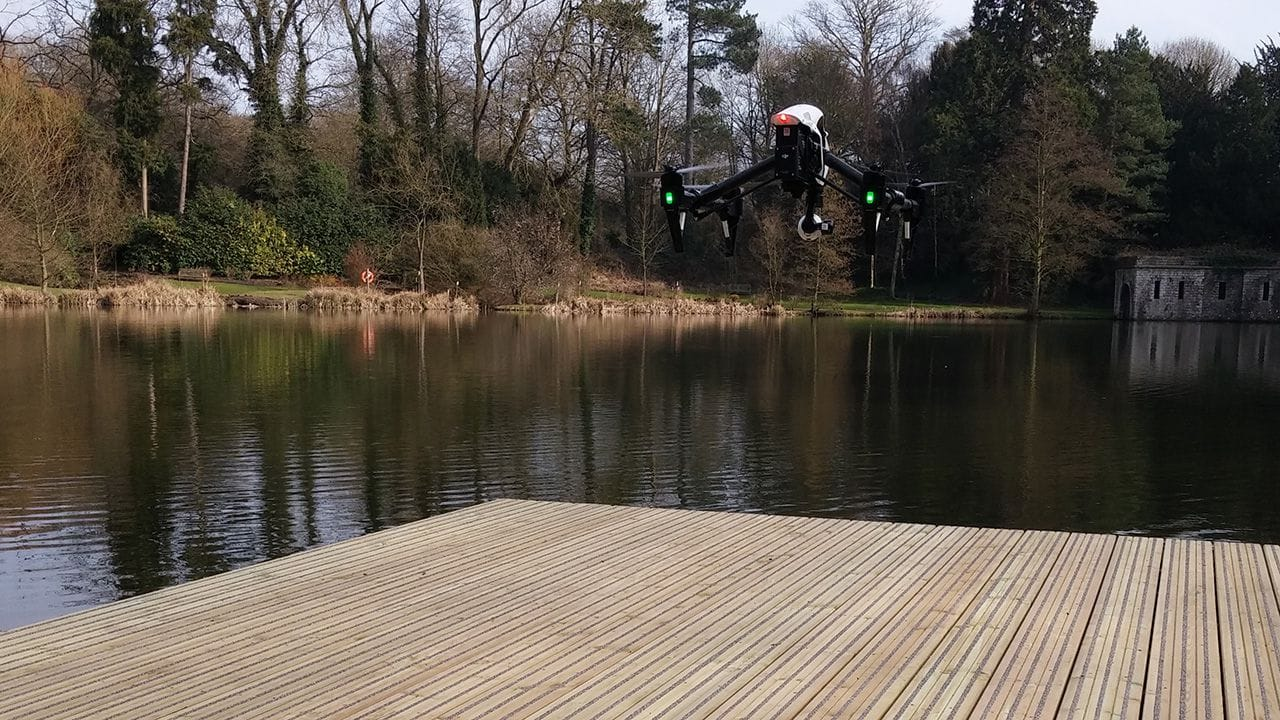 UAV preparing to land on small docks