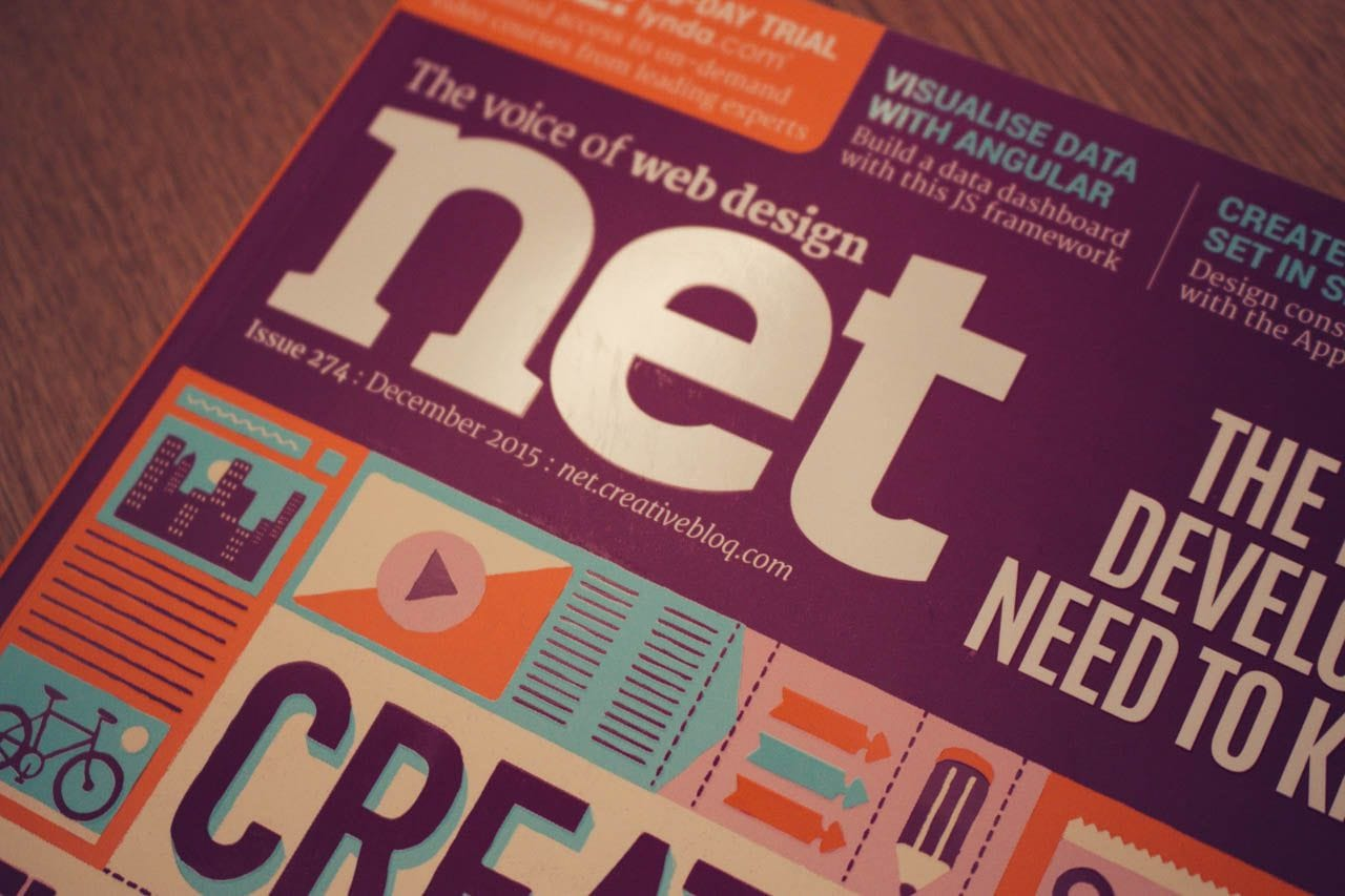 The cover of net magazine, issue 274, December 2015.