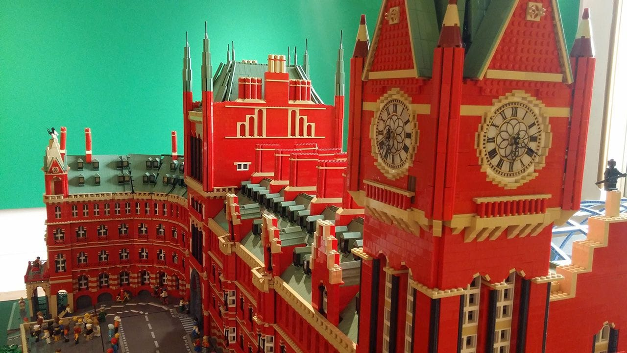 St. Pancras Station clock tower recreated using Lego.