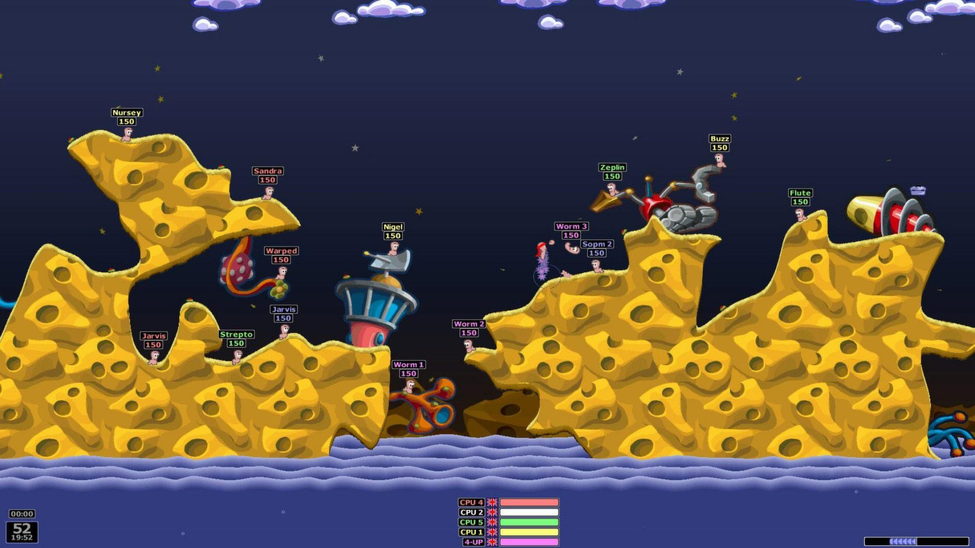 A screenshot from the game Worms: Armageddon.