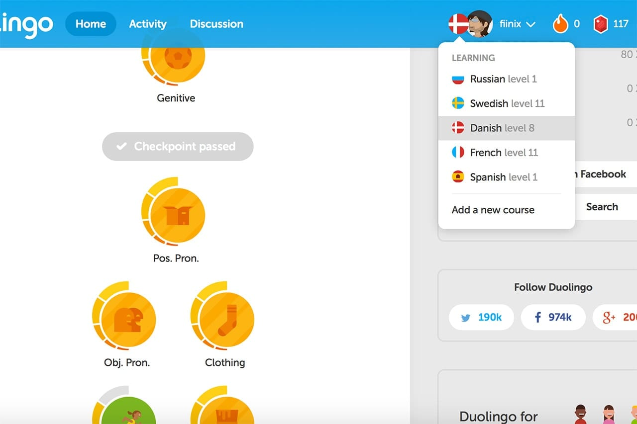 Screenshot of the Duolingo website with its different langauge lessons.