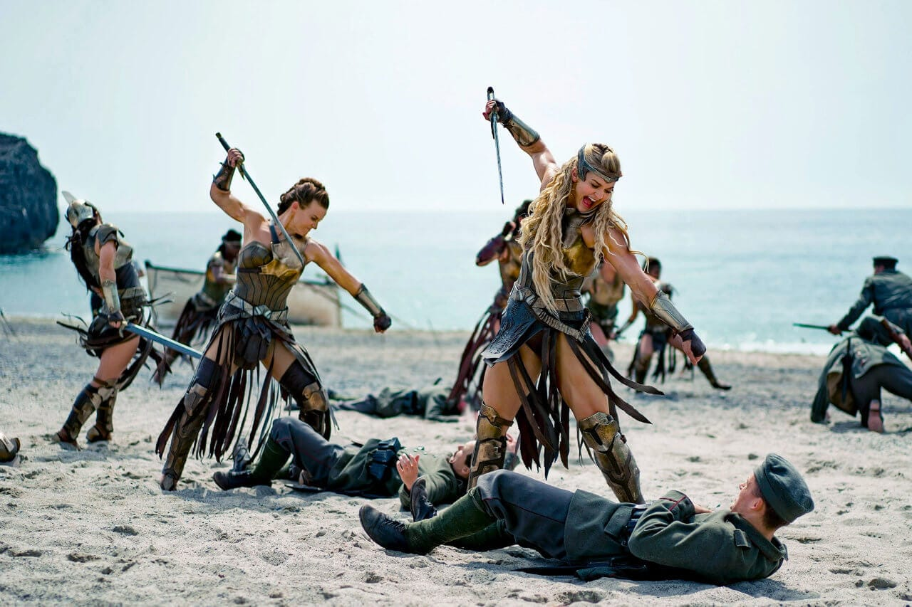 The Amazons fighting German soldier on the beach of Themyscira.