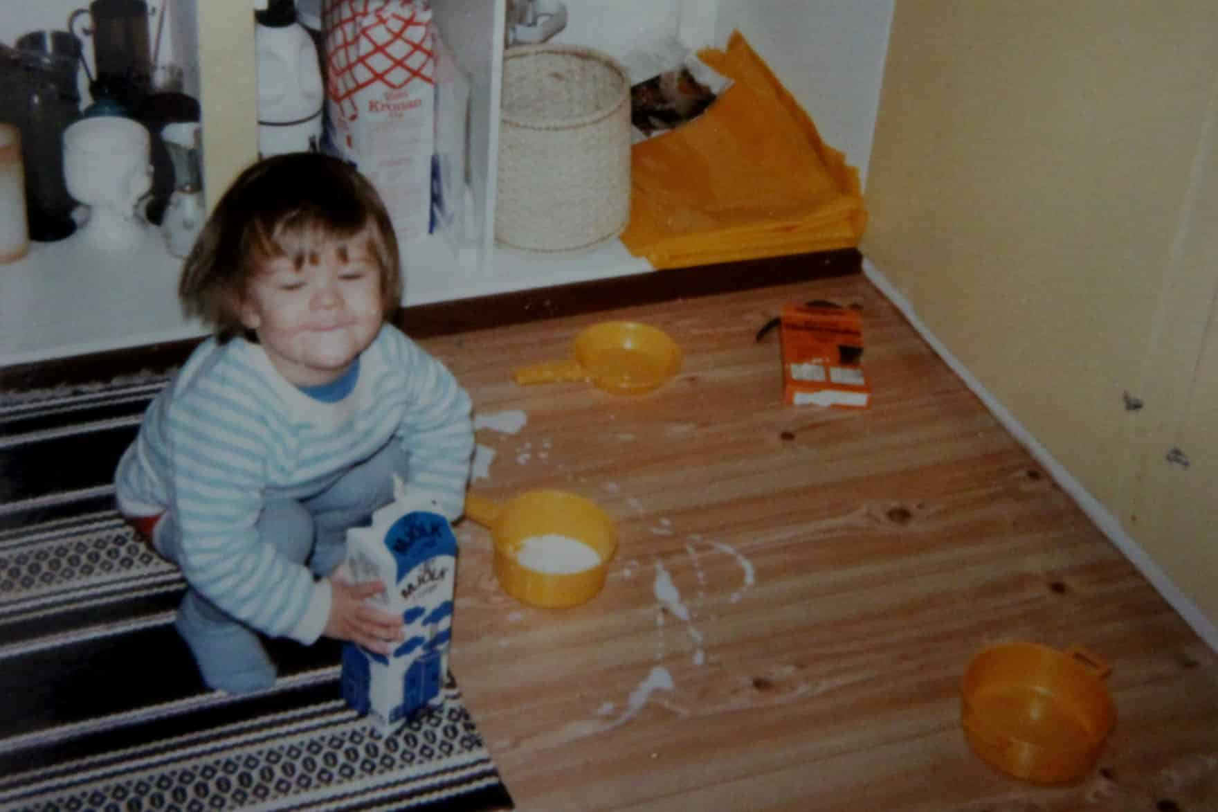 Carlos Eriksson as a toddler, making a mess in his mom's kitchen2.