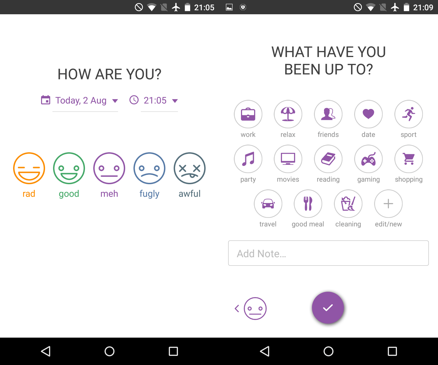 Screenshot of picking your mood in Daylio.