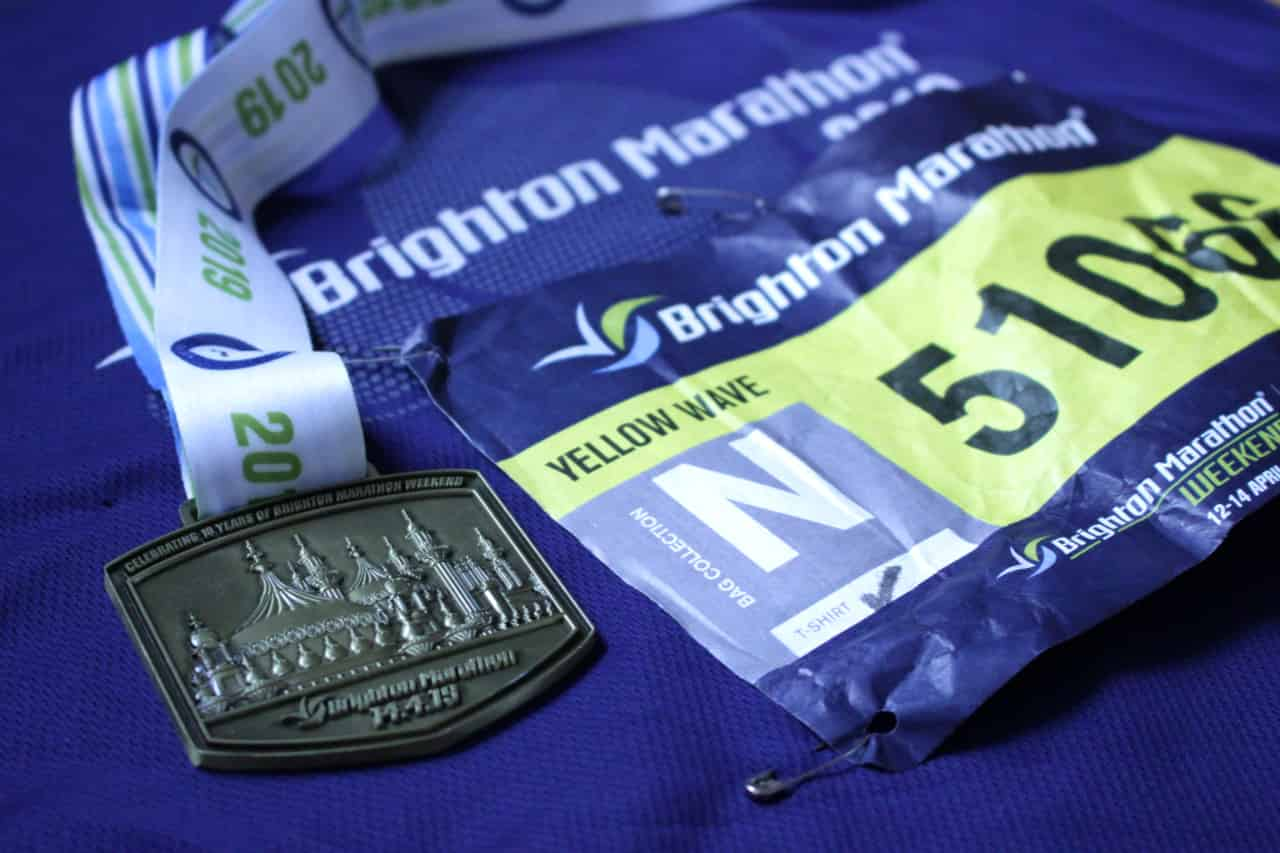 Closeup of the Brighton Marathon 2019 finisher medal.